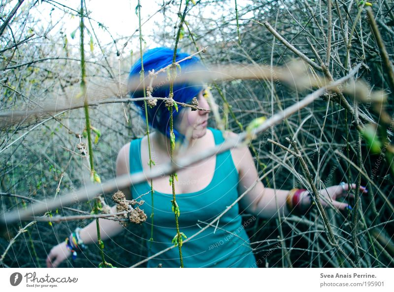 on the lookout. Lifestyle Feminine Young woman Youth (Young adults) 1 Human being 18 - 30 years Adults Youth culture Subculture Punk Plant Foliage plant Garden
