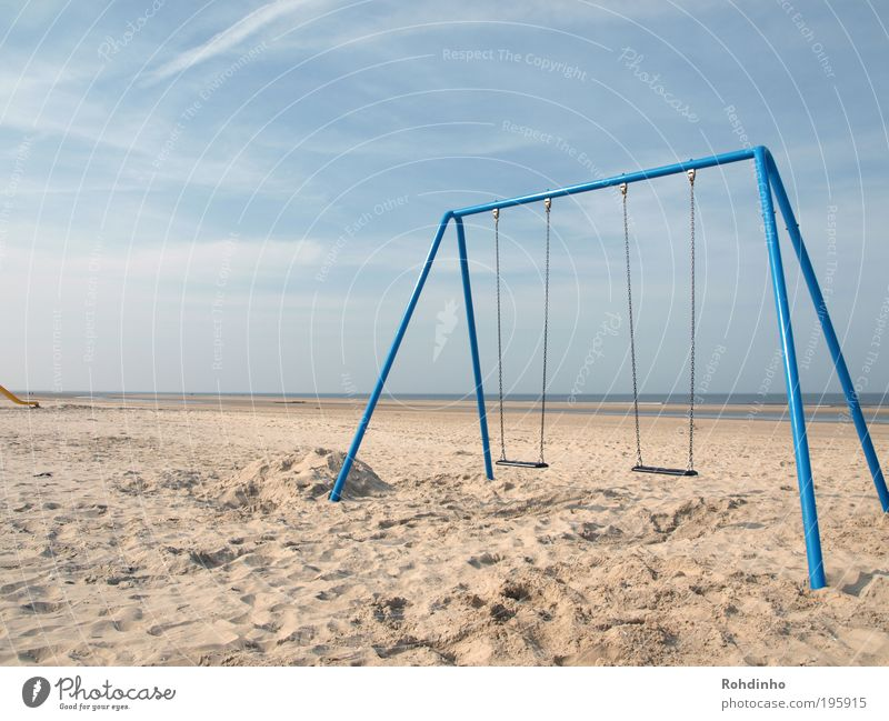 beach playground Happy Life Calm Leisure and hobbies Playing Summer Beach Ocean Island Nature Landscape Sand Water Sky Beautiful weather Coast To swing Romp