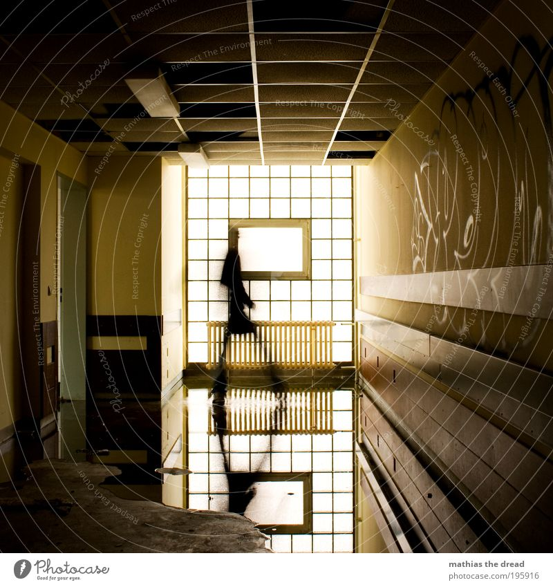 Human being Water Calm Window Wall (building) Graffiti Architecture Wall (barrier) Building Walking Characters Swimming pool Manmade structures Sign Creepy