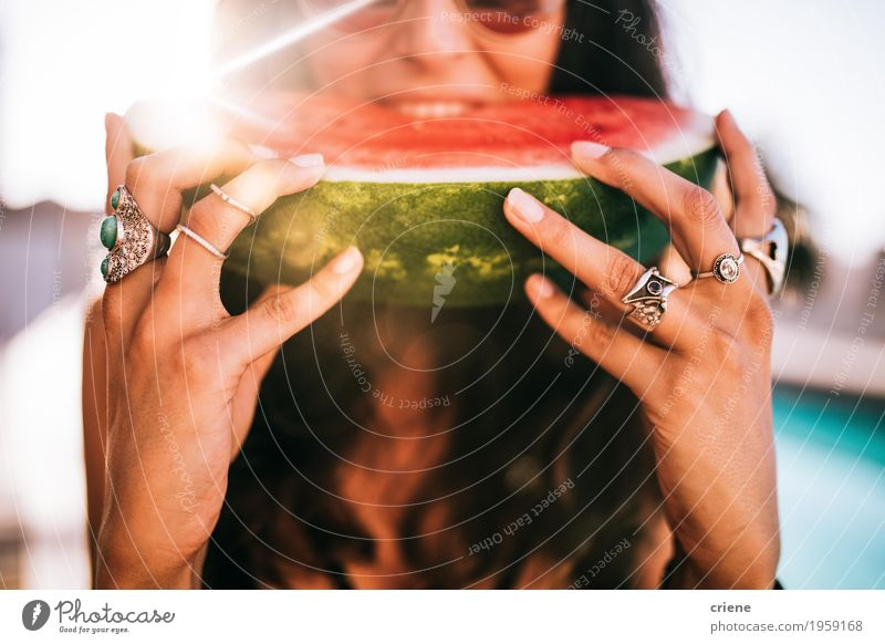 Women eating watermelon at swimming pool Woman Vacation & Travel Youth (Young adults) Summer Young woman Sun Joy Adults Eating Lifestyle Feminine Style Food Fashion Fruit Fresh