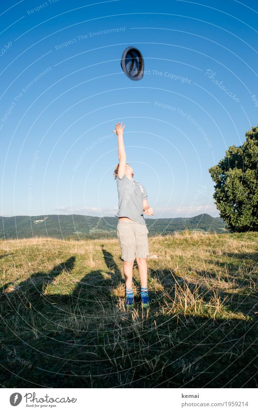 Human being Child Summer Landscape Joy Environment Life Meadow Boy (child) Playing Happy Freedom Feasts & Celebrations Leisure and hobbies Masculine Trip