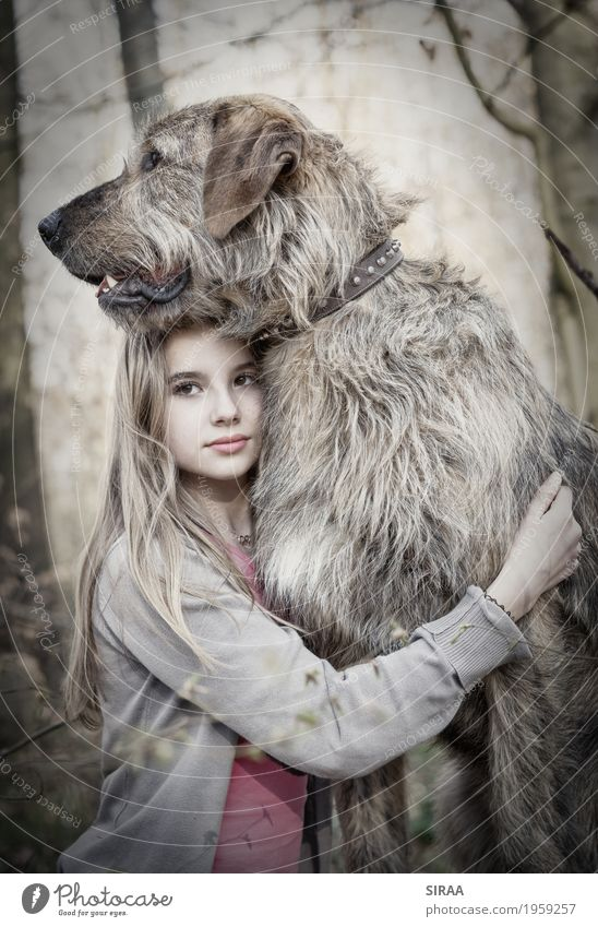 Human being Child Nature Dog Youth (Young adults) Tree Landscape Animal Girl Forest Feminine Together Friendship Blonde Infancy Stand