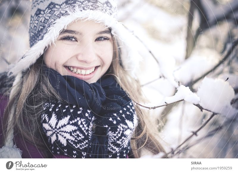Human being Child Nature Youth (Young adults) Beautiful Tree Girl Winter Forest Face Snow Feminine Happy Snowfall Weather Ice