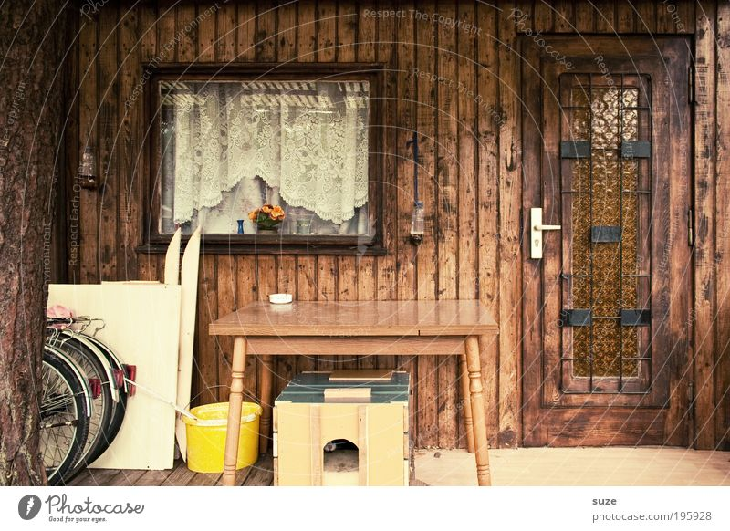 season start Summer vacation Living or residing Flat (apartment) Table Hut Window Door Old Retro Brown Vacation home Curtain Closed Wooden house Gardenhouse