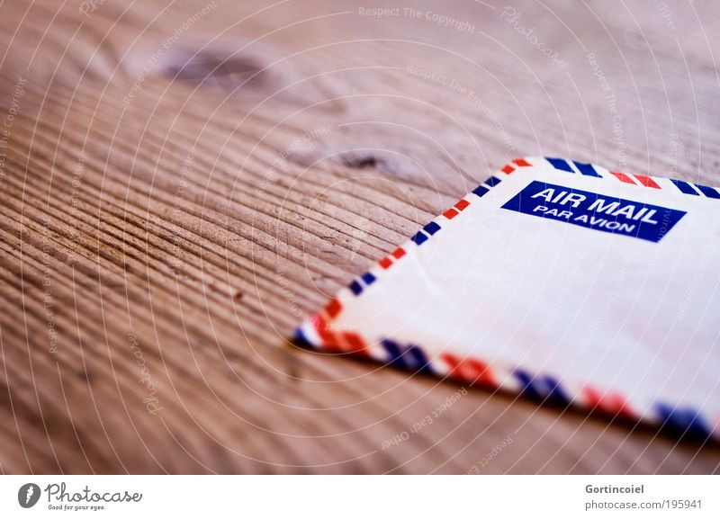 air mail Stripe Retro Letter (Mail) Information Airmail Communicate Means of communication Write Envelope (Mail) Contact Transmit Sender Addressee