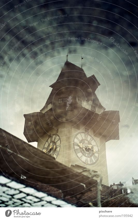 Gradec Capital city Tower Tourist Attraction Landmark Clock tower Retro pischarean Graz Mountain castle Architecture Puddle Colour photo Day Reflection Blur