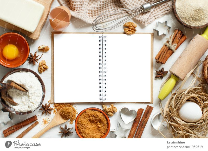 Blank cooking book, ingredients and utensils for baking White Wood Brown Fresh Table Paper Herbs and spices Kitchen Dessert Egg Bowl Baked goods Sugar Dough