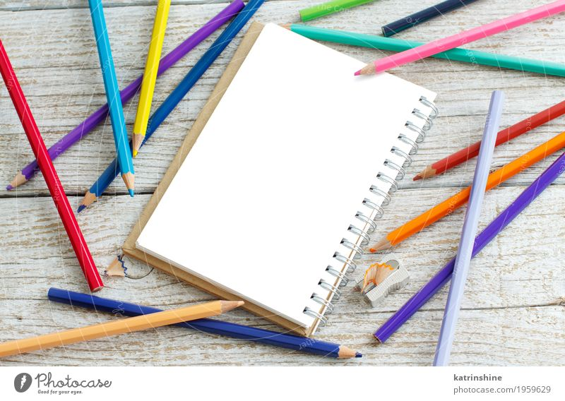 Drawing-pad and color pensils Design Leisure and hobbies School Bright Blue Yellow Green Pink Red White Colour Creativity colorful drawing education equipment