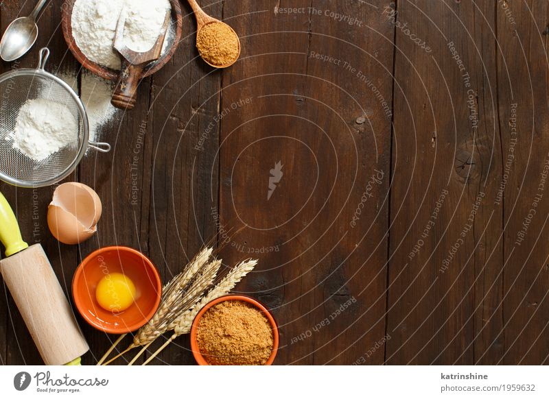Ingredients and utensils for baking White Wood Brown Fresh Table Herbs and spices Kitchen Dessert Egg Bowl Baked goods Sugar Cooking Raw Rustic Ingredients