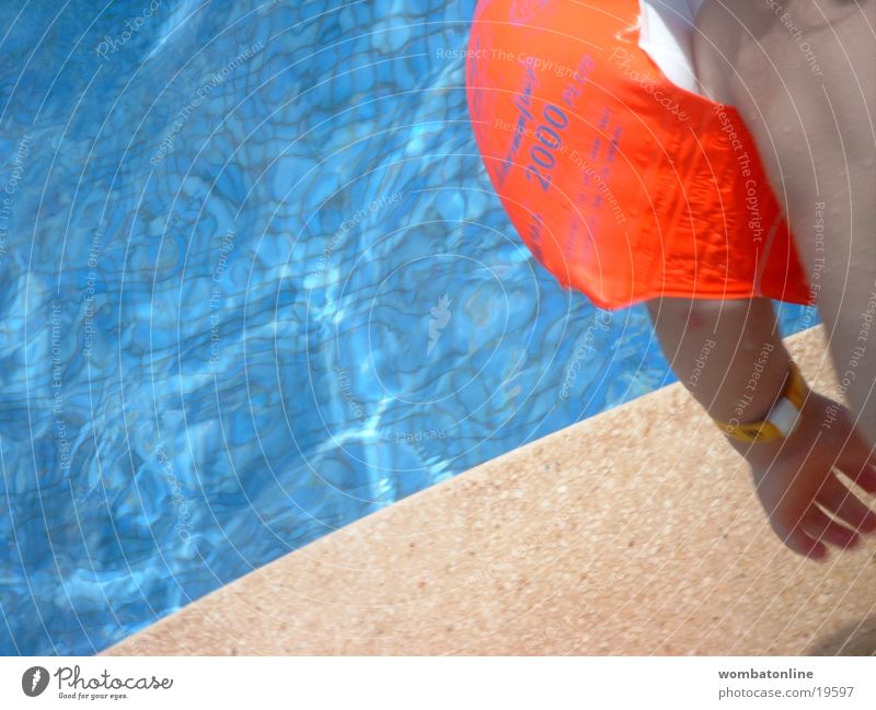 Jump in the deep end Swimming pool Child Water wings Summer Vacation & Travel Europe Basin Sun