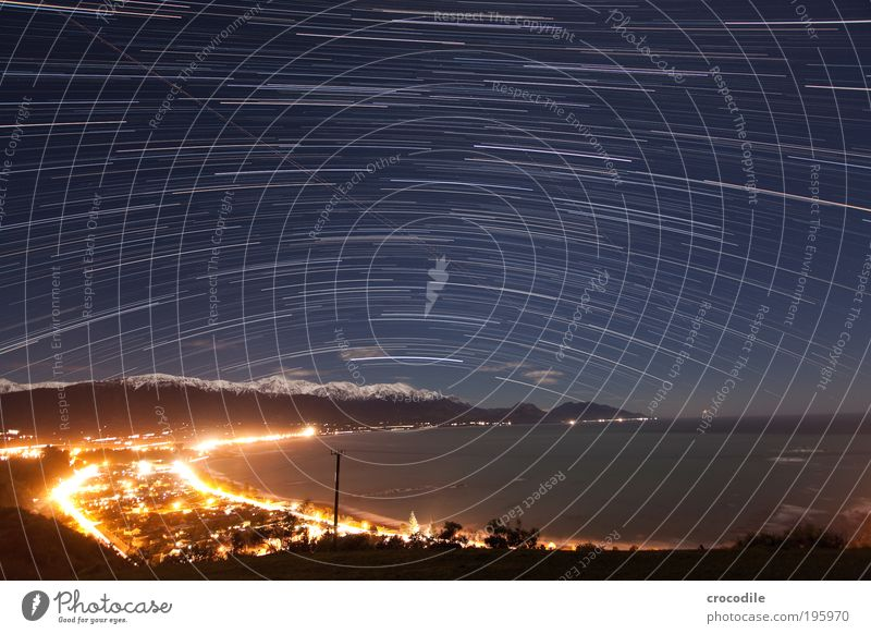Startrails over Kaikoura Environment Nature Landscape Elements Cloudless sky Night sky Stars Horizon Beautiful weather Ice Frost Alps Mountain Snowcapped peak