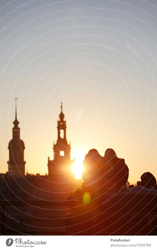 #A# Winter sun Painting and drawing (object) Esthetic canaletto Dresden Saxony Skyline Joie de vivre (Vitality) Sunset Dresden Hofkirche Tourist Attraction