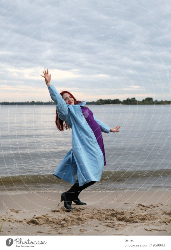 . Feminine Woman Adults 1 Human being Actor Dancer Sky Autumn Coast River bank Beach Dress Coat Footwear Red-haired Long-haired Laughter Looking Friendliness