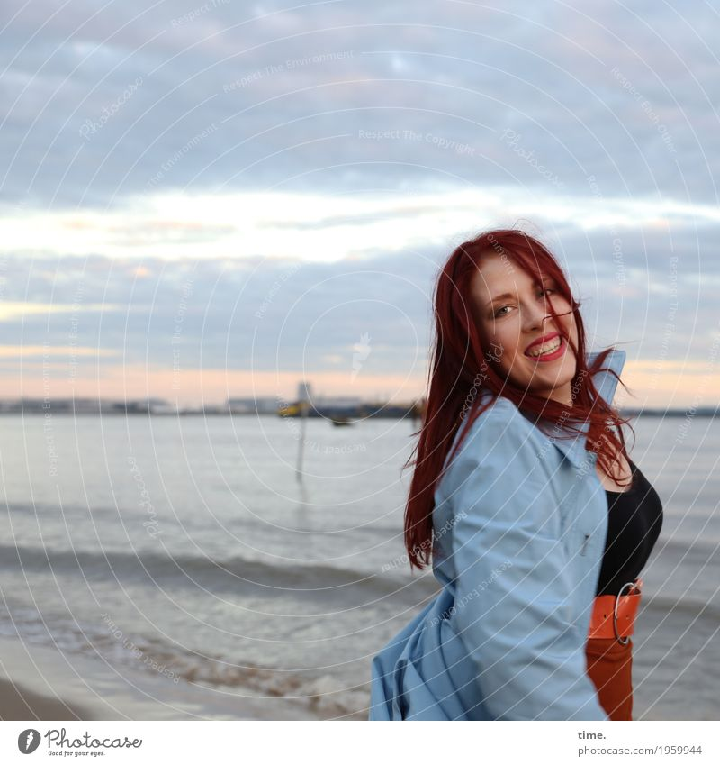 anastasia Feminine Woman Adults 1 Human being Sky Clouds Horizon Waves Coast River bank T-shirt Skirt Coat Red-haired Long-haired Observe Movement Rotate
