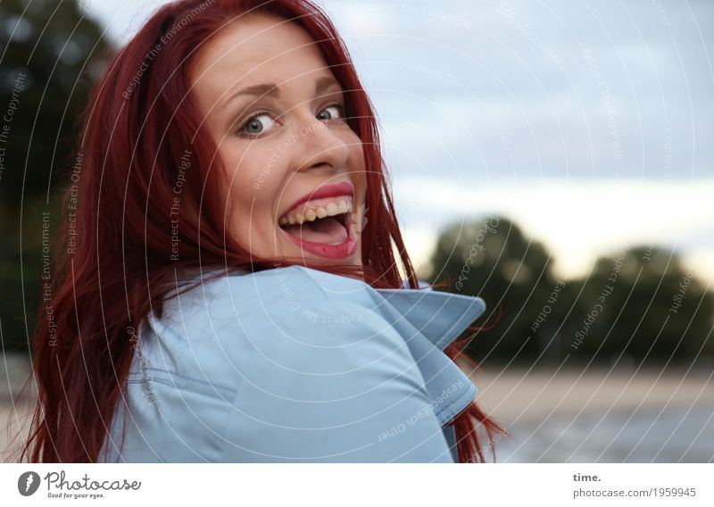 . Feminine Woman Adults 1 Human being Beautiful weather Forest Coast River bank Beach Coat Red-haired Long-haired Discover Laughter Looking Joy Happiness