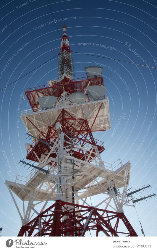 Sky Blue White Red Cold Architecture Gray Building Rope Industry Tower Internet Technology Telecommunications TV set Manmade structures