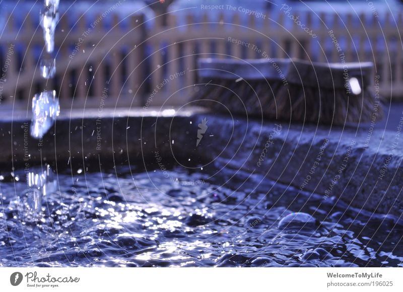 well Brush Water Drops of water Well Fresh Wet Blue Brown Cold Colour photo Exterior shot Twilight Sunbeam Central perspective Day
