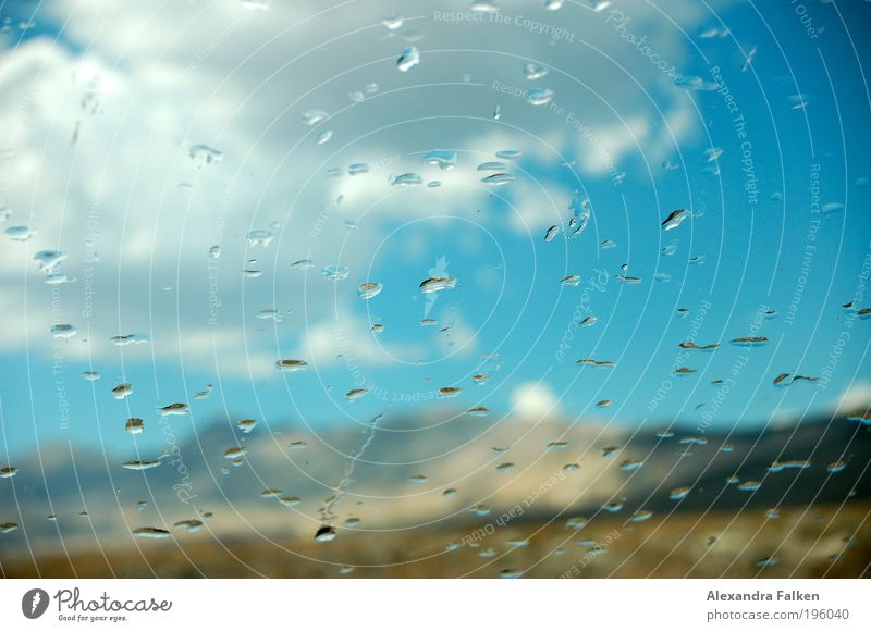 Water Beautiful Sun Blue Clouds Mountain Car Rain Weather Drops of water Climate Hill Car Window Refreshment