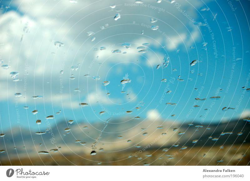 Water Beautiful Sun Blue Clouds Mountain Car Rain Weather Drops of water Drop Climate Hill Car Window Refreshment