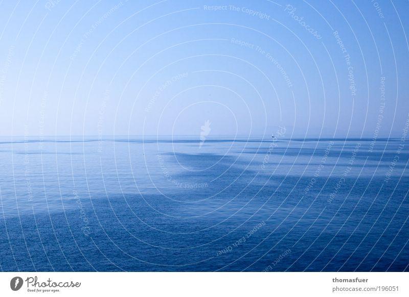 Sky Blue Water Ocean Summer Relaxation Freedom Horizon Beautiful weather Infinity Navigation Sailing Cloudless sky Sailboat Cruise Sailing ship