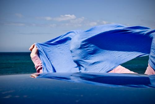 profile wind trousers Summer vacation Sun Ocean 1 Human being Beautiful weather Wind Gale Scarf Authentic Happiness Funny Crazy Blue Joie de vivre (Vitality)