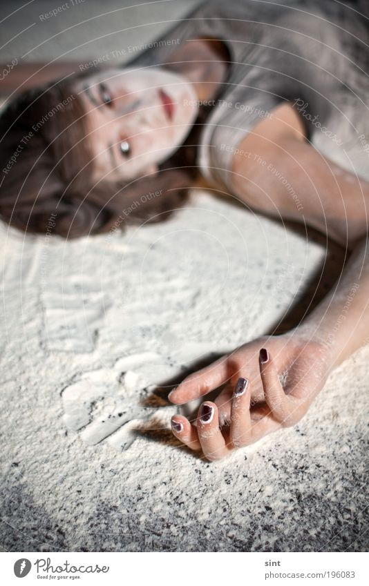 baking mixture Calm Feminine Young woman Youth (Young adults) Hand 1 Human being Flour Relaxation Lie Wait Dirty Rebellious White Colour photo Exterior shot