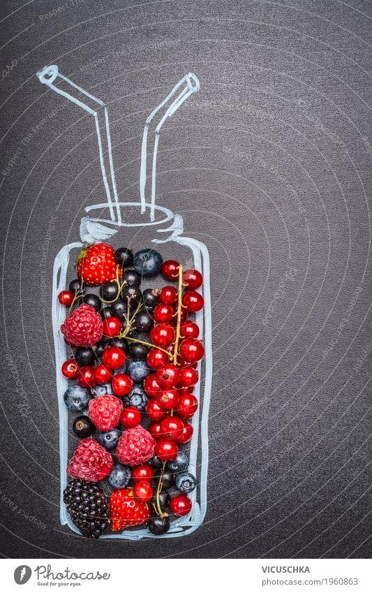 Summer Healthy Eating Life Style Food Design Fruit Nutrition Sign Beverage Painted Organic produce Berries Blackboard Bottle
