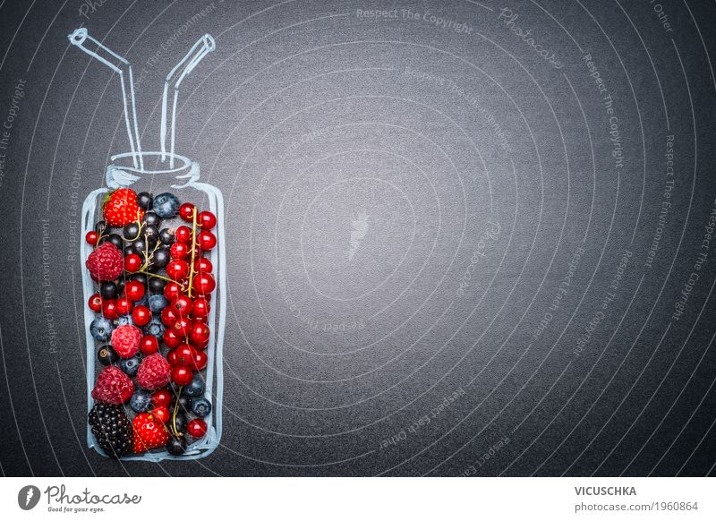 Bottle with different berries for smoothie or juice Food Fruit Organic produce Vegetarian diet Diet Beverage Cold drink Juice Style Design Healthy Eating