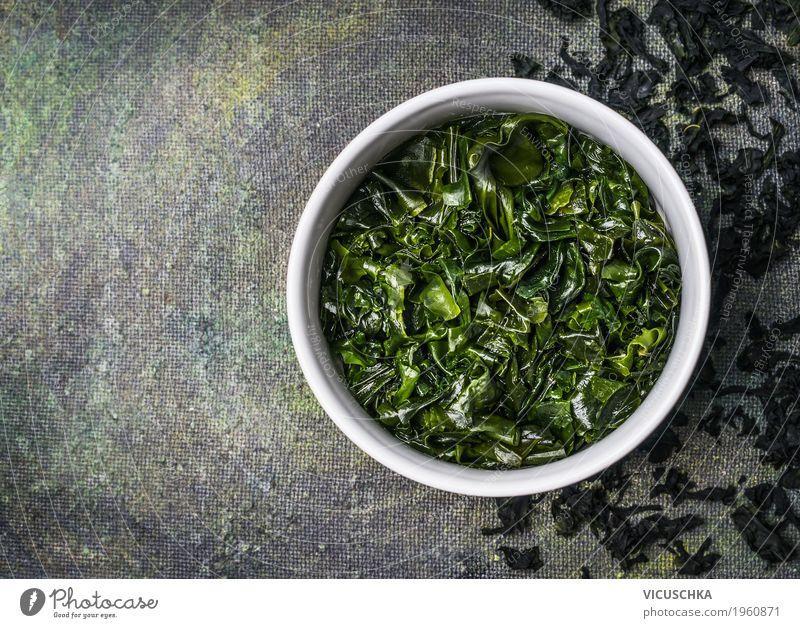 Wakame algae in water bowl Food Nutrition Organic produce Vegetarian diet Diet Asian Food Bowl Style Design Healthy Alternative medicine Healthy Eating Life
