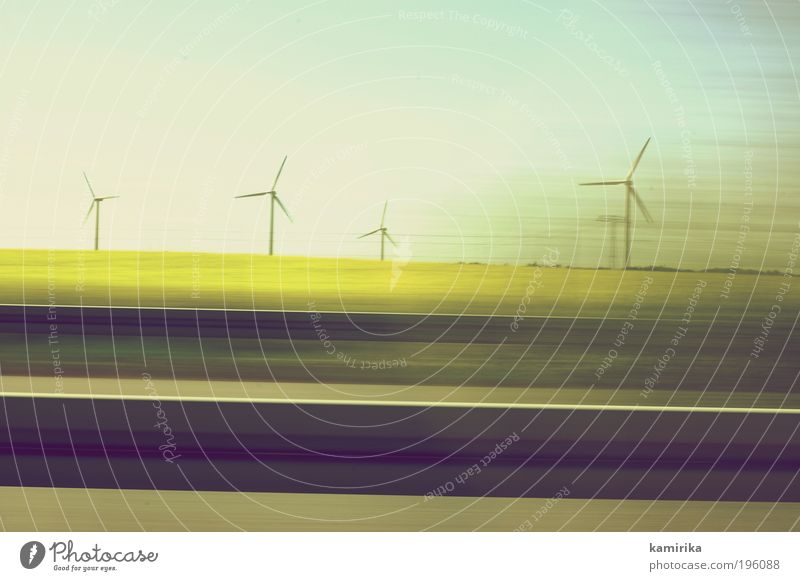 wheel wheels wheels Energy industry Renewable energy Wind energy plant Landscape Sky Cloudless sky Spring Climate Climate change Grass Field Road traffic