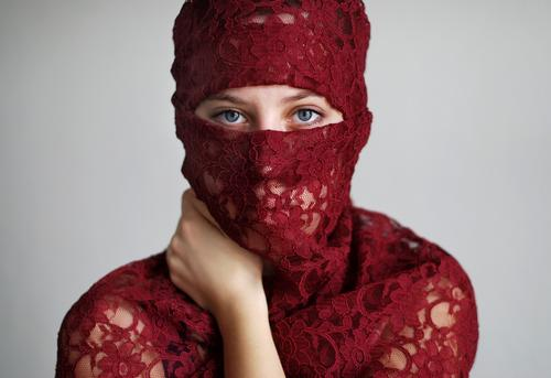 Human being Youth (Young adults) Young woman Red Calm 18 - 30 years Adults Eyes Sadness Feminine Esthetic Arm Culture Mysterious Trust Lace