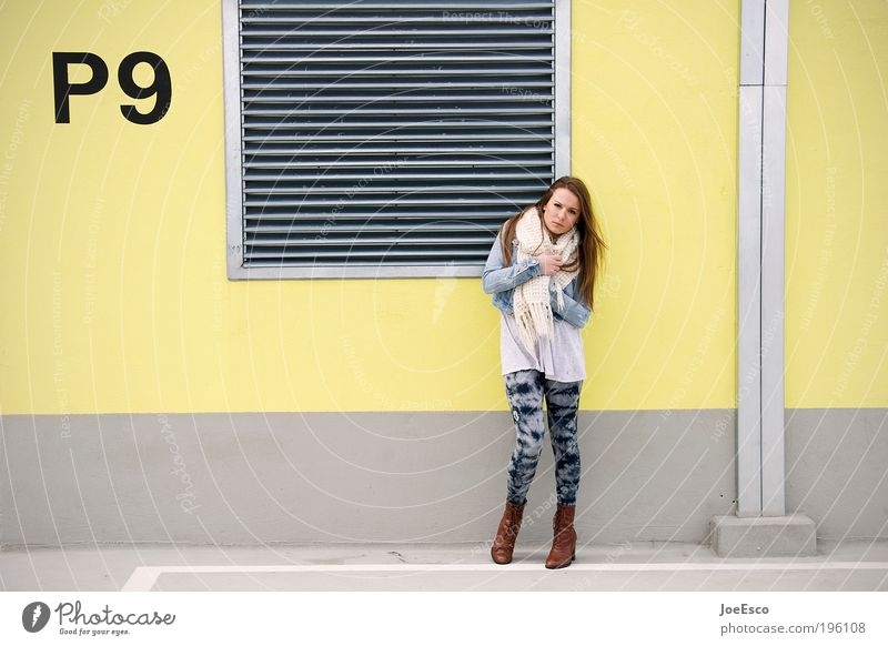 P9 Lifestyle Style Human being Woman Adults 1 Building Wall (barrier) Wall (building) Roof Pants Jacket Scarf Boots High heels Long-haired Looking Stand
