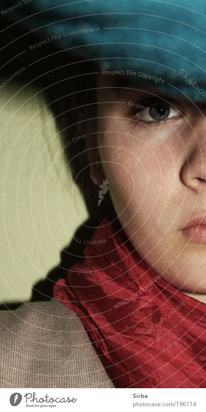 Youth (Young adults) Blue Red Face Eyes Feminine Dream Think Young woman Human being Woman Action