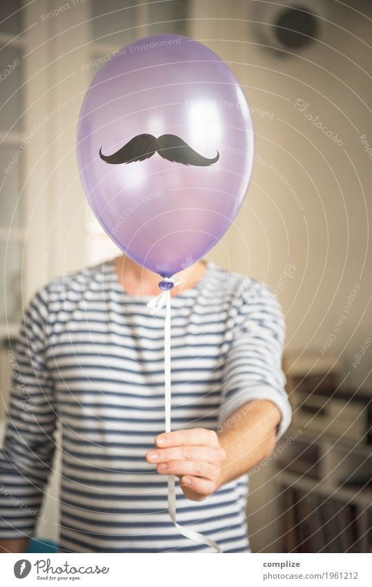 Monsieur Moustache Feasts & Celebrations Birthday Human being Masculine Man Adults Facial hair 1 Hair Whisker Party Firm Balloon Colour photo