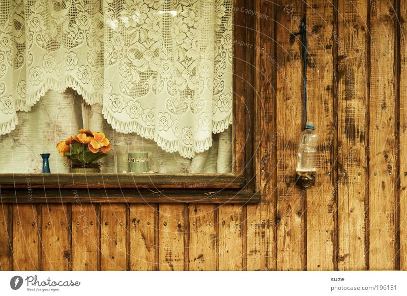 Old Flower Window Wood Brown Flat (apartment) Living or residing Closed Simple Transience Retro Hut Past Drape Window pane Nostalgia
