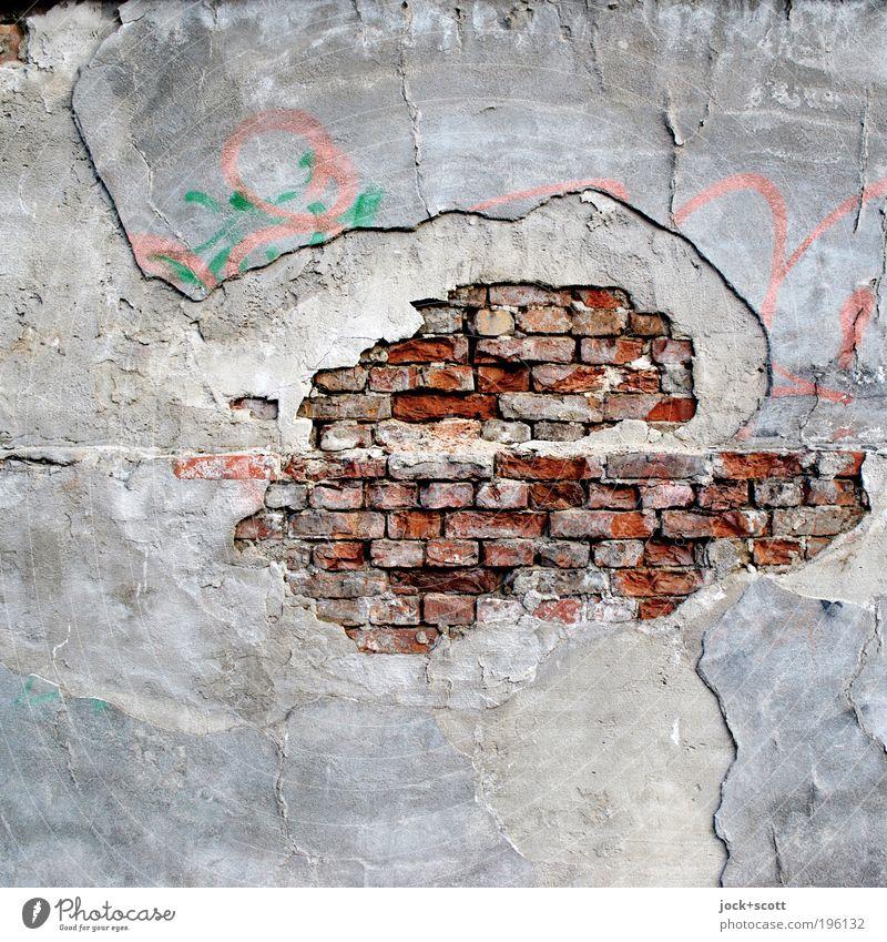 Make it big Street art Brick Graffiti Old Broken Gray Variable Inspiration Feeble Decline Transience Change Destruction bailer Mortar Brick red Oval Process