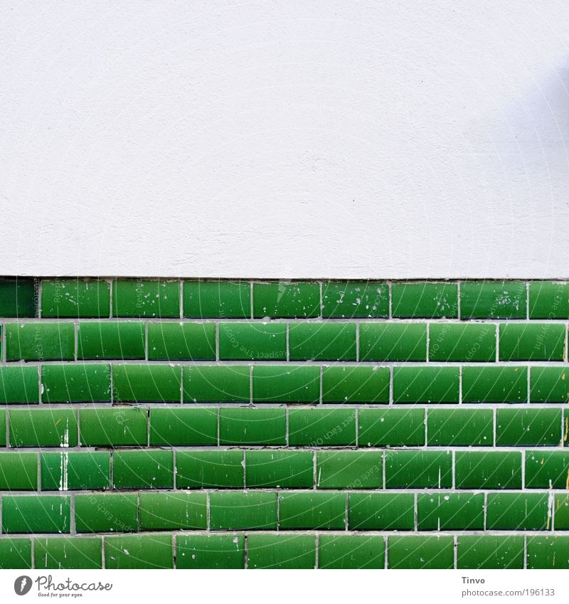 Old and New Wall (barrier) Wall (building) Facade Green White Tile Insulation exterior wall Plaster Dye whitewashed Fresh paint Painter klekse botched