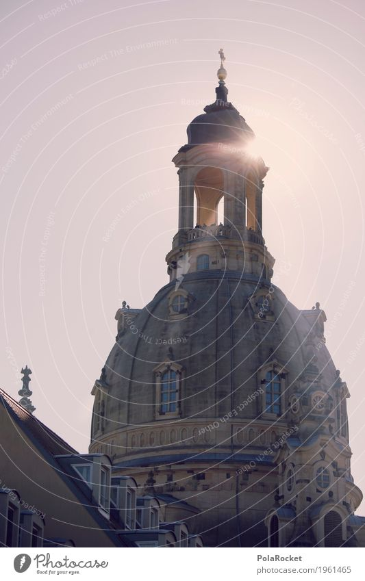 #A# Dresden in view IV Art Esthetic Frauenkirche Saxony Church Domed roof Sunbeam Summer City trip Tourism Tourist Attraction Roof Capital city Vantage point