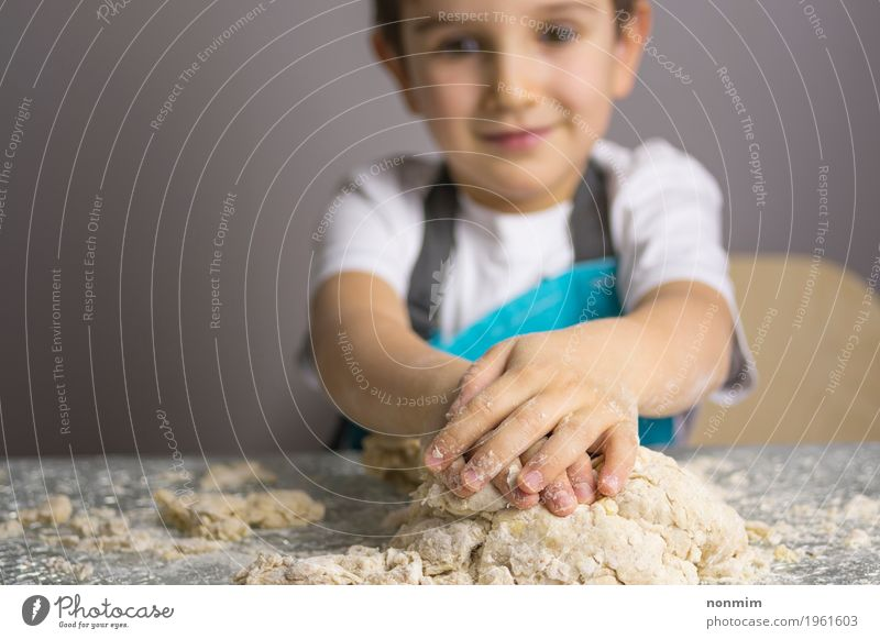 Little boy kneading raw pizza dough Dough Baked goods Bread Joy Playing Kitchen Child Boy (child) Smiling Make Blue Delightful Apron Baking Baker Caucasian