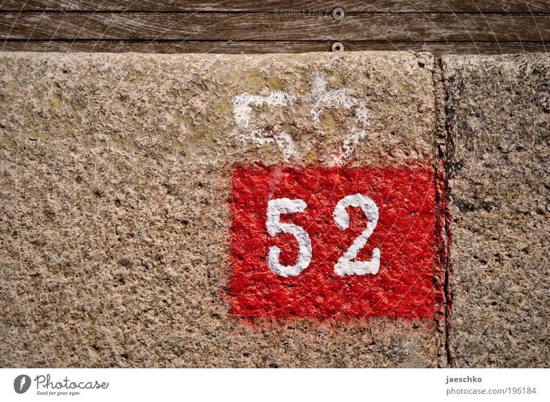 Congratulations card? Stone Wood Digits and numbers 52 Old Authentic New Red Change House number Dye Renewal Superimposed Paving stone Parking space
