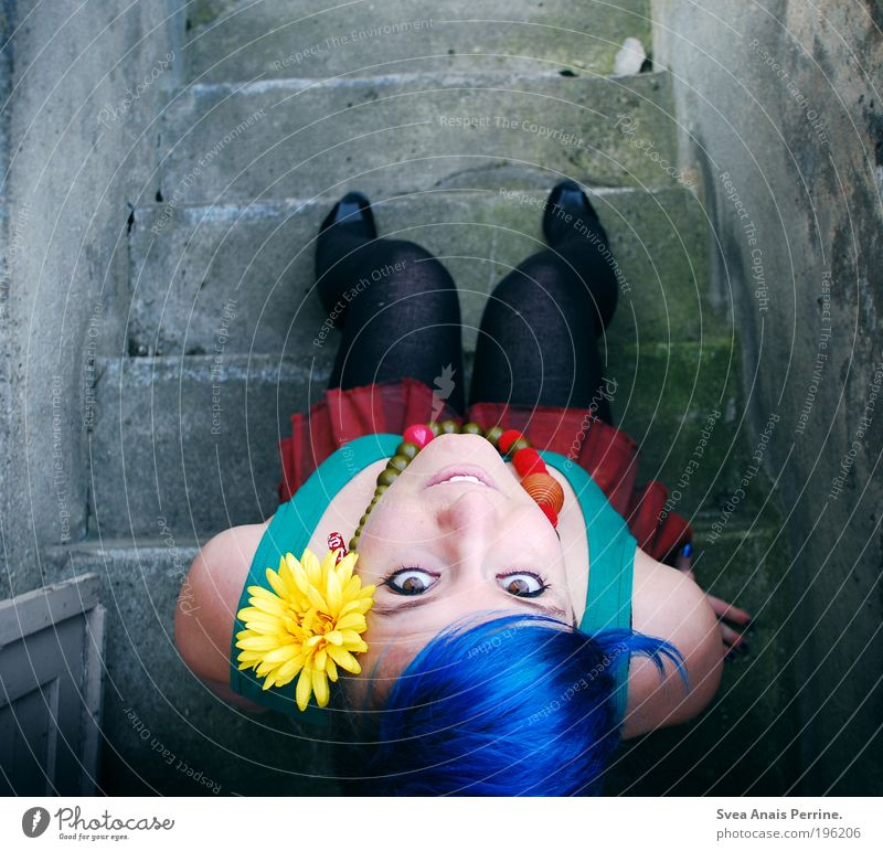 Human being Youth (Young adults) Blue Red Flower Adults Eyes Yellow Feminine Cold Wall (building) Hair and hairstyles Happy Wall (barrier) Style Think