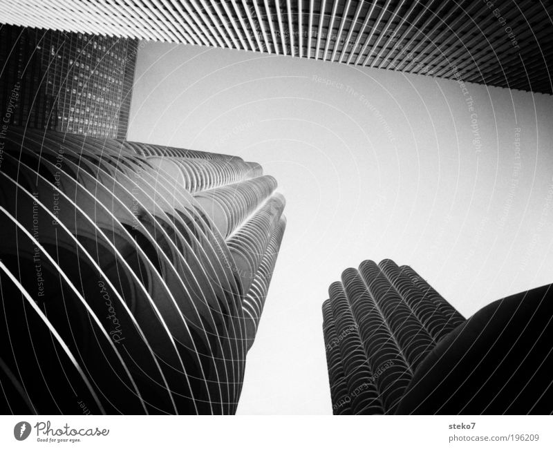 City Architecture High-rise Threat Manmade structures Black & white photo Landmark Downtown Symmetry Tumble down Tourist Attraction Americas Chicago Ambitious