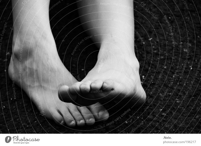 a few feet. Skin Feet Simple Near Natural Black White Serene Calm Relaxation Black & white photo Exterior shot Deserted Copy Space right Neutral Background Day