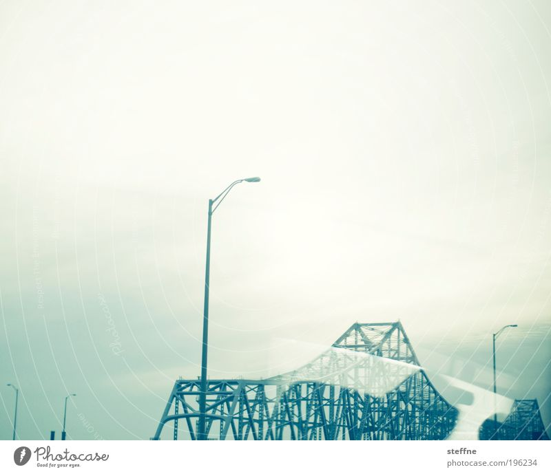 The bridge at the river New Orleans USA Transport Bridge Modern Steel Lantern Steel bridge Scaffolding Dream world Abstract Exclusion Cross processing