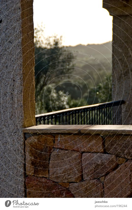 Summer in front of balcony Luxury Vacation & Travel Tourism Far-off places Summer vacation Dream house Nature Landscape Hill Wall (barrier) Wall (building)