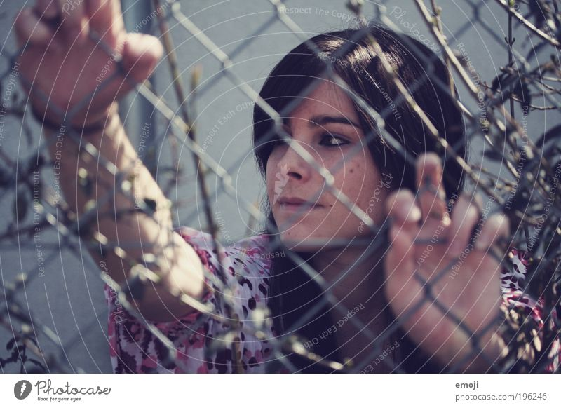 there I see the walls I've built Feminine Young woman Youth (Young adults) 1 Human being 18 - 30 years Adults Threat Beautiful Cold Blue Grating Mesh grid Net