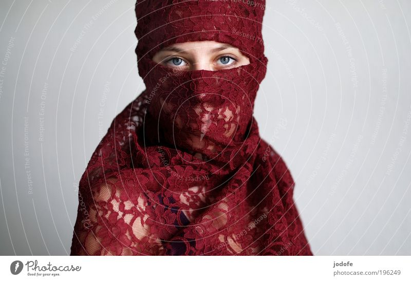 downside Feminine Young woman Youth (Young adults) 1 Human being 18 - 30 years Adults Headscarf Esthetic Red Serene Calm Self Control Authentic Tolerant