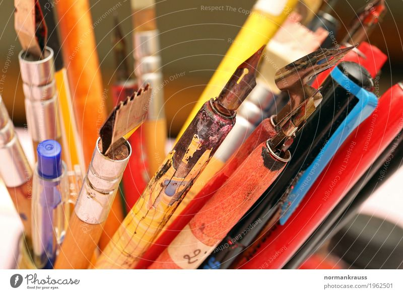 Pen nibs and pens Stationery Wood Metal Plastic Thin Historic Near Retro Multicoloured Quill Colour photo Interior shot Close-up Detail Deserted Copy Space left