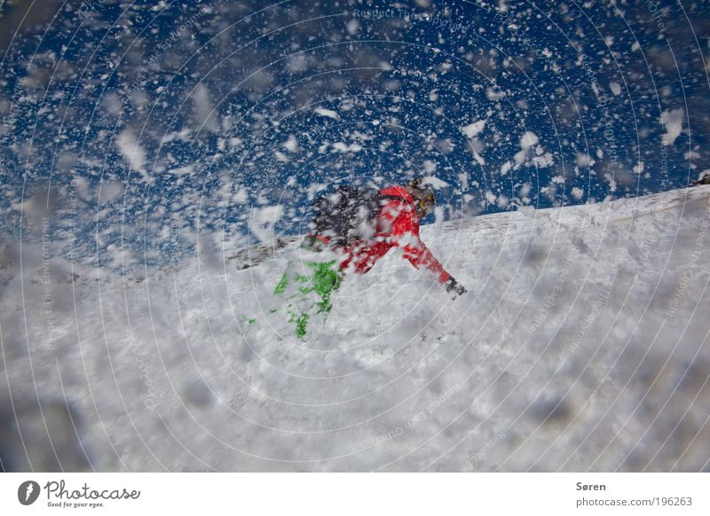 SWOOOOSH! Snowboarder Joy Action Curve turn Spray Wide angle shwoosh Snowfall Ski run Snowboarding Snowflake Tilt 1 Exterior shot Colour photo Red Winter