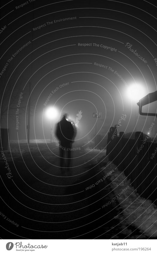 Killing Mood Human being Masculine Man Adults 1 Village Street Creepy Black & white photo Exterior shot Copy Space top Night Shadow Contrast Silhouette